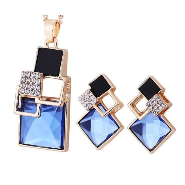 Victorias Vintage Shape Geometric Crystal Pendant With Stud Earrings - T012 Gold Blue - Earrings
