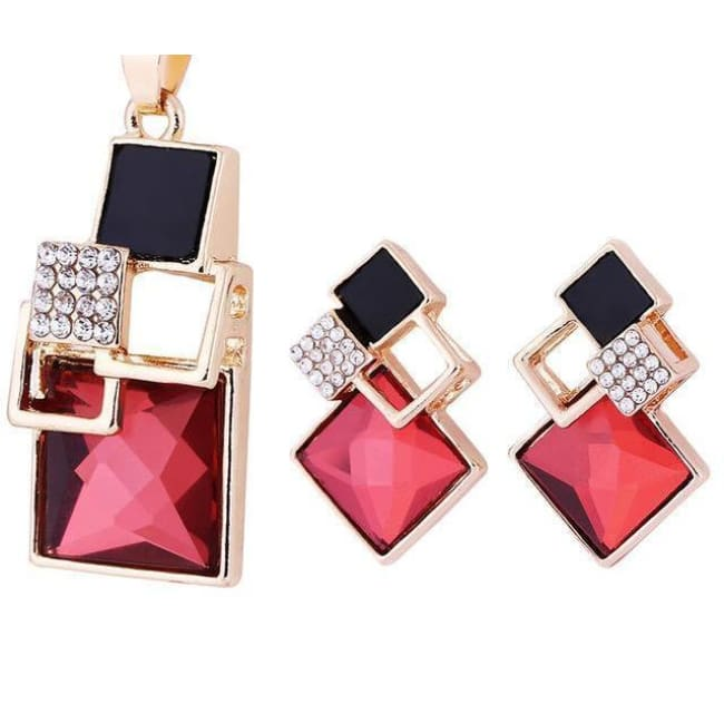 Victorias Vintage Shape Geometric Crystal Pendant With Stud Earrings - T012 Gold Red - Earrings