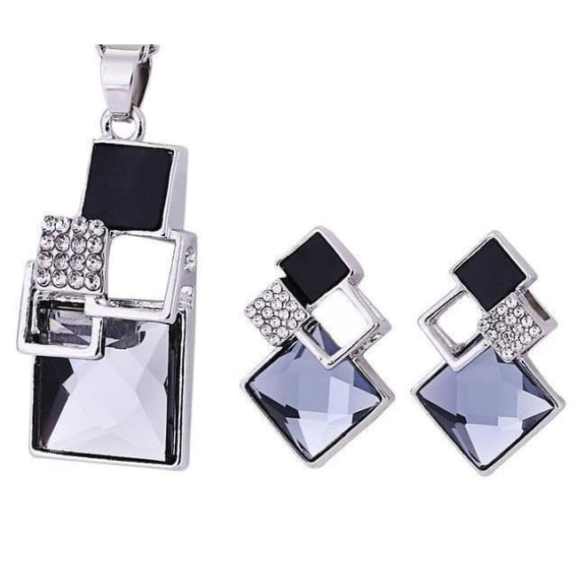 Victorias Vintage Shape Geometric Crystal Pendant With Stud Earrings - T012 Silver Black - Earrings