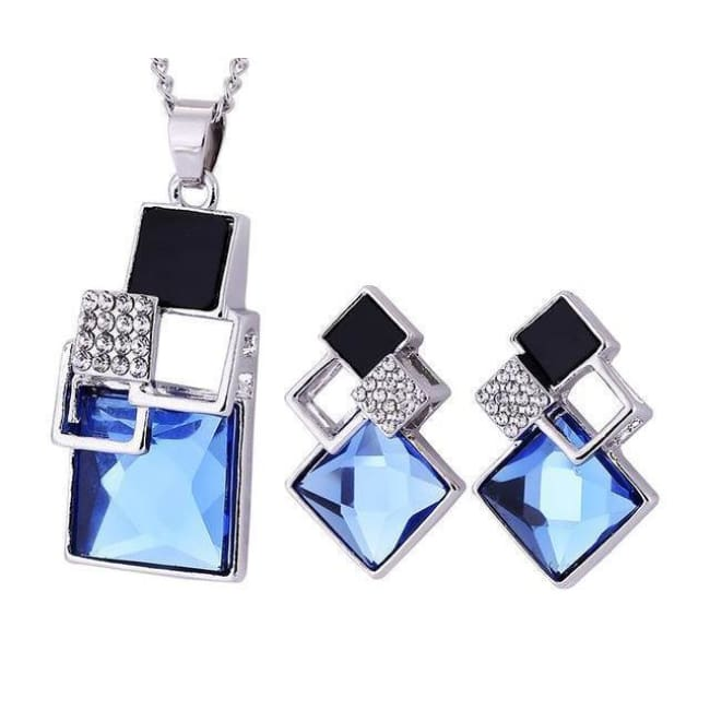 Victorias Vintage Shape Geometric Crystal Pendant With Stud Earrings - T012 Silver Blue - Earrings