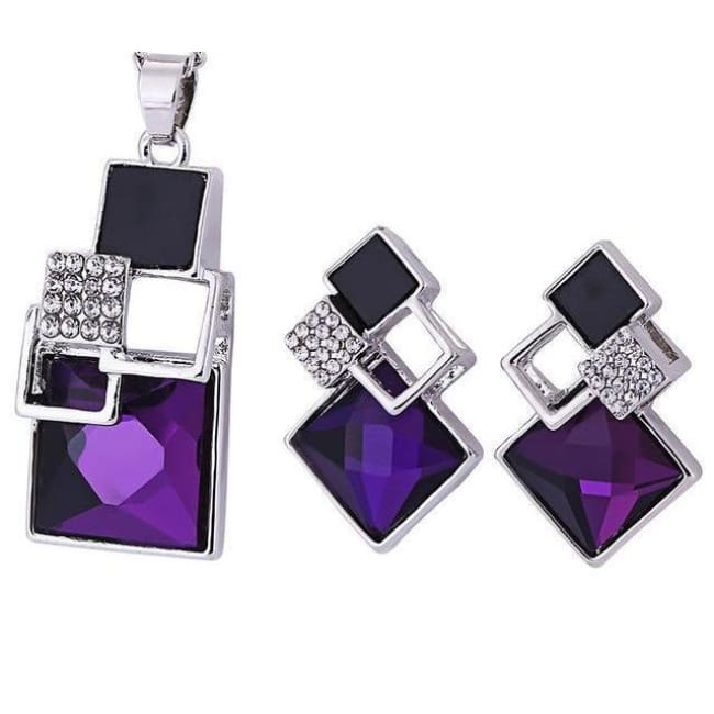 Victorias Vintage Shape Geometric Crystal Pendant With Stud Earrings - T012 Silver Purple - Earrings