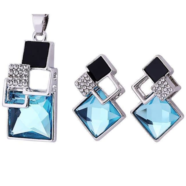Victorias Vintage Shape Geometric Crystal Pendant With Stud Earrings - T012 Silver Sky Blue - Earrings
