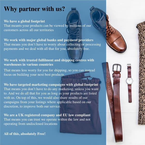AubeNord Why Partner With Us? Loads of benefits such as Global Footprint, Marketing Support, Warehousing and more... All For FREE