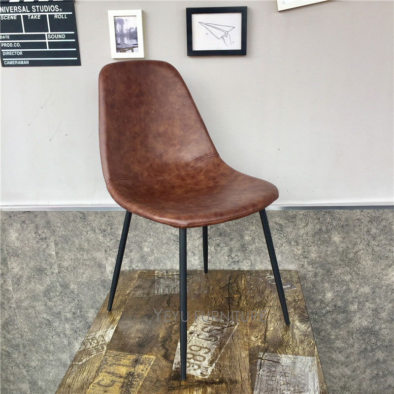 Simple Retro Leather Pad Chair