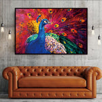 Vibrant Colored Majestic Peacock Canvas Poster