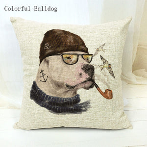 Throw Pillow Covers Cartoon Dogs Cushion Cover Linen Cotton 45x45Cm Square Cojin Almofada Art Print Home Couch Car Seat Decorate