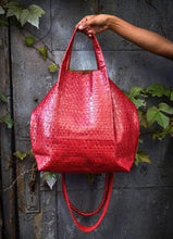 la jolla | red embossed leather - Volta Atelier