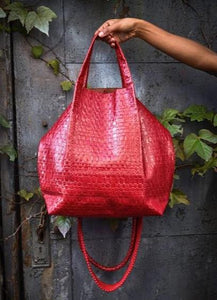la jolla | red embossed leather