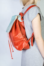 bay ridge small backpack | orange raffia-print leather - Volta Atelier