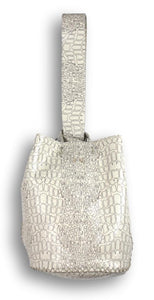 navigli bag | off-white snake with organic black print leather - Volta Atelier