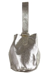 navigli bag | silver snake-embossed leather