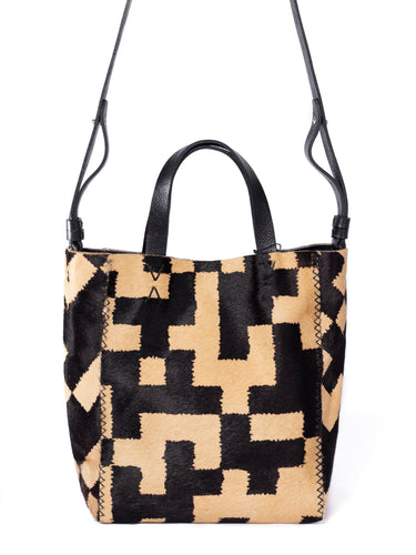 copacabana bag | brown and light caramel geometric-print calf skin