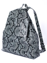bay ridge large backpack | black and gray snake-embossed leather