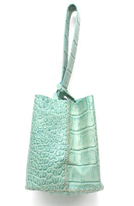 soho bag | green crocco-printed leather - Volta Atelier