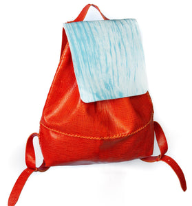 bay ridge small backpack | orange raffia-print leather