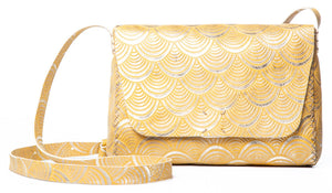 minato bag | yellow deco-print leather