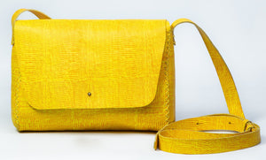 minato bag | yellow lezard-print leather