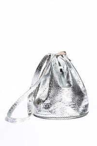 chelsea bag | silver croco-print leather