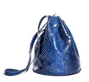 chelsea bag | blue razor-cut leather