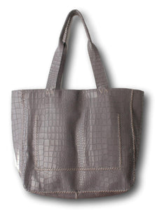 leblon | grey crocco-embossed leather