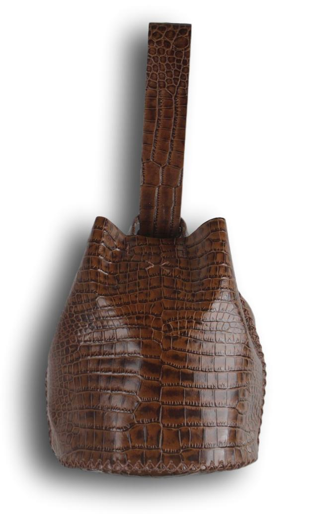 navigli bag | brown crocco-embossed leather