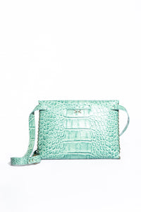 lapa bag | green croco-print leather