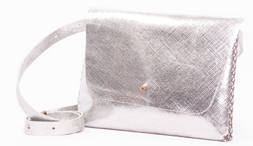 lapa bag | raffia-print silver leather