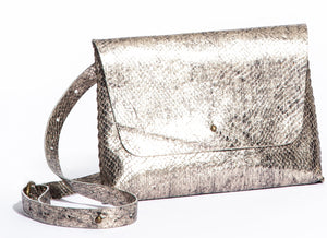 lapa bag | silver razor-cut leather
