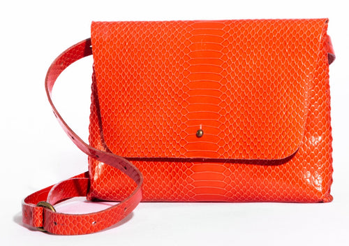 lapa bag | orange snake-print leather