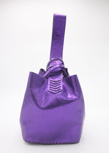 soho bag | purple metallic craquelé leather - Volta Atelier