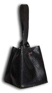 soho small bag | black snake-embossed leather - Volta Atelier