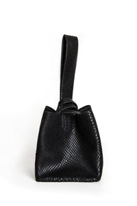 soho bag | black snake-embossed leather