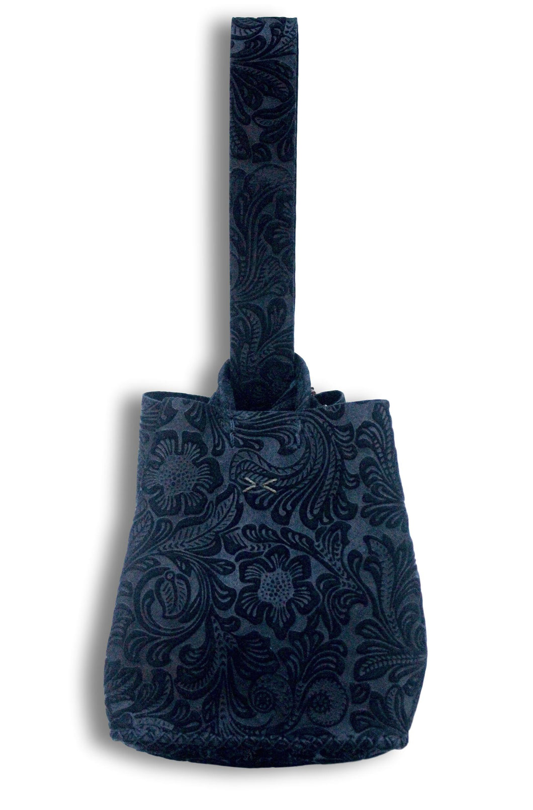 soho bag | flower-embossed black leather