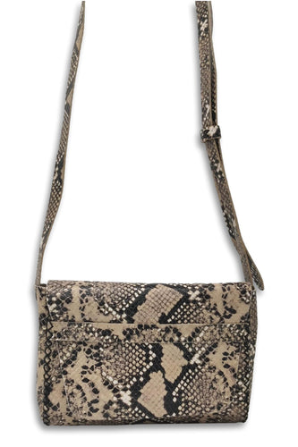 mauá | beige and black snake-embossed leather