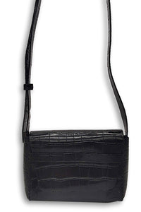 mauá | black crocco-embossed leather