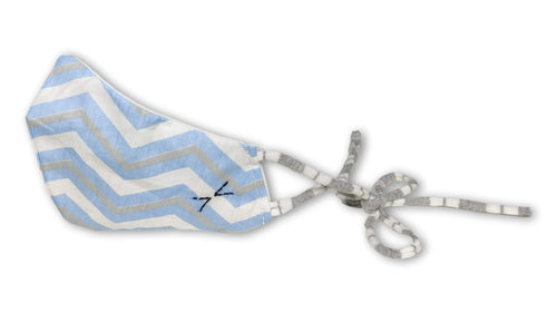 face mask | light blue, grey, and white stripes double cotton