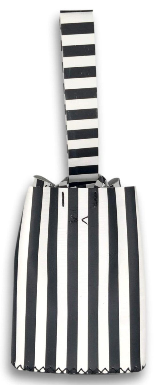 soho bag | black and white stripes leather