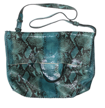vila large | turquoise snake-printed leather - Volta Atelier