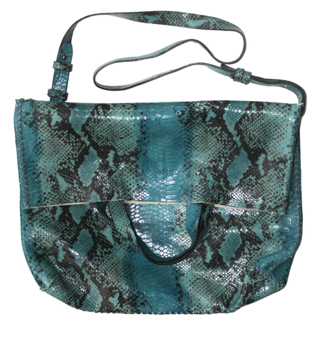 vila large | turquoise snake-printed leather