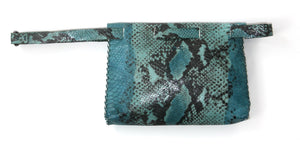 lapa bag | turquoise snake-printed leather