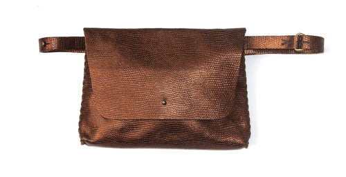 lapa bag | dark copper lezard-printed leather - Volta Atelier