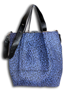 la jolla | black and blue printed calfskin - Volta Atelier