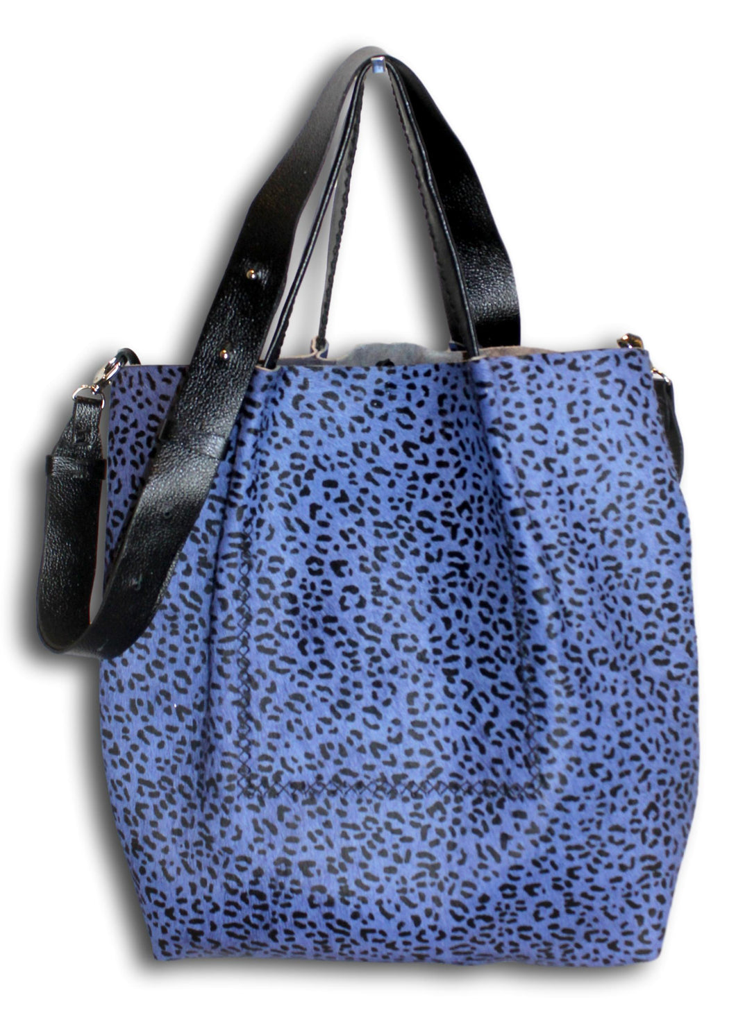la jolla | black and blue printed calfskin