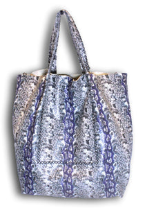 la jolla | blue and grey snake-printed leather - Volta Atelier
