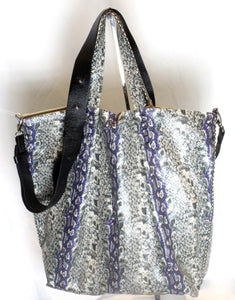la jolla | blue and grey snake-printed leather