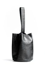 navigli bag | black raffia-embossed leather - Volta Atelier