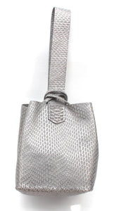 soho bag | gray and silver embossed leather