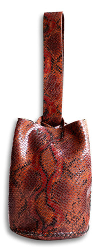 navigli bag | red snake-embossed leather