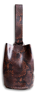 navigli bag | brown snake-embossed leather