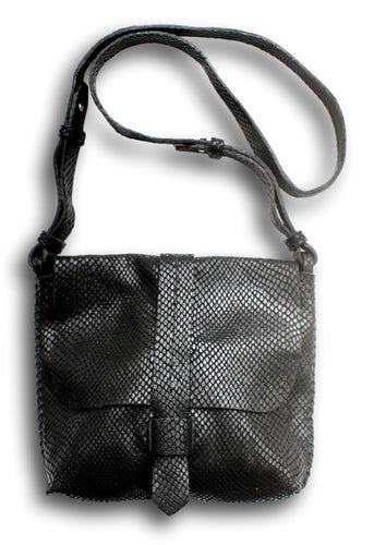 san telmo | black snake-embossed leather